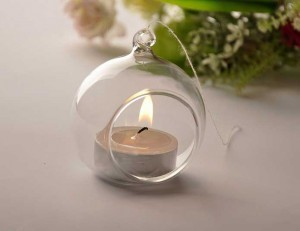 Hanging glass candle holder christmas ball wedding party glass vase candlestick