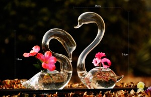 Transparent glass vase swan flower vase handmade crafts wedding gifts