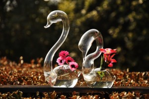 Transparent glass vase swan flower vase handmade crafts